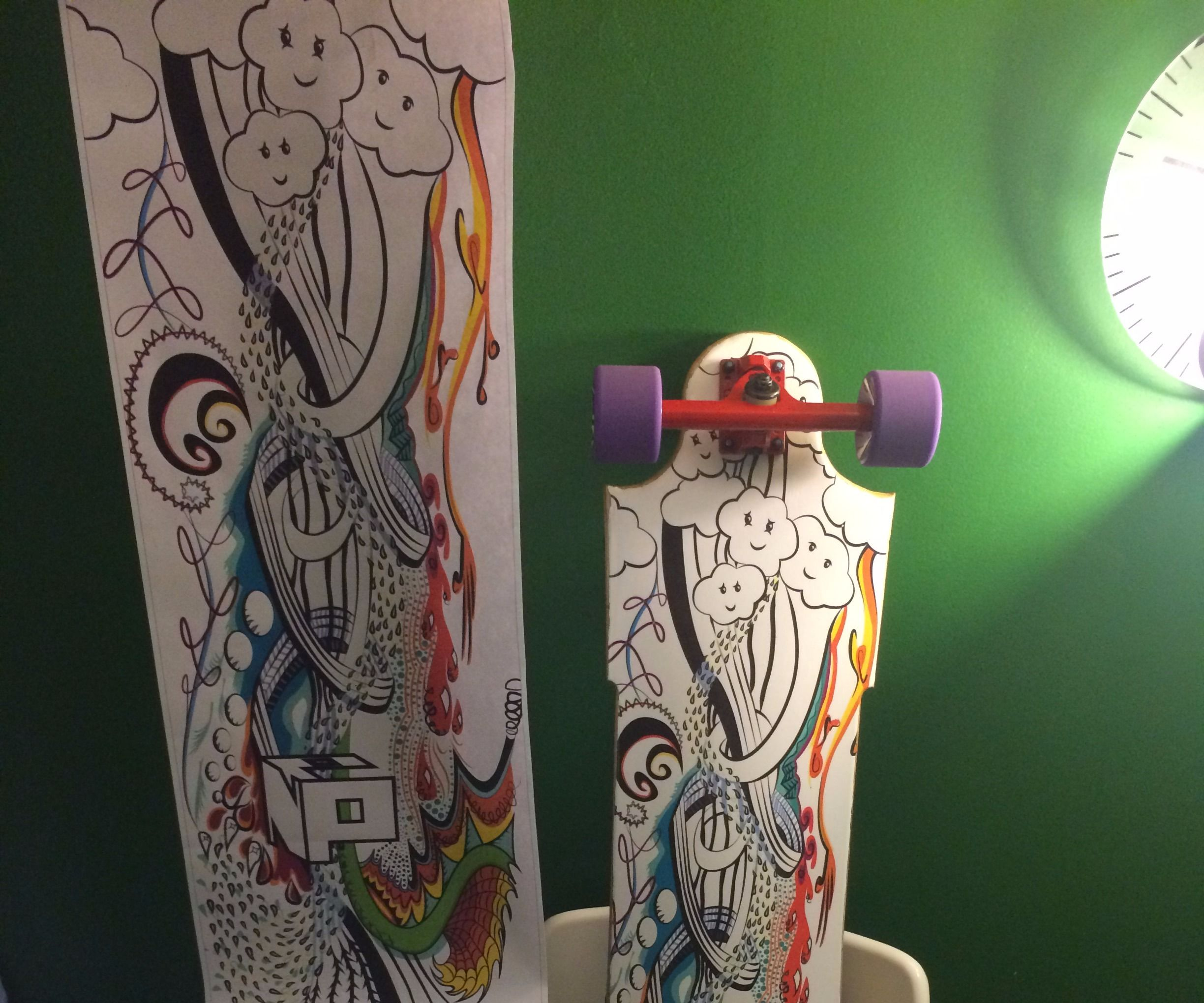 Homemade Longboard With Vinyl Print