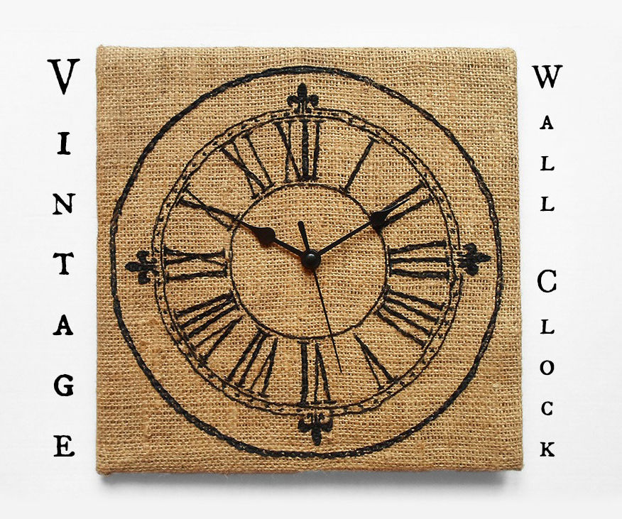 Embroidered Vintage Wall Clock