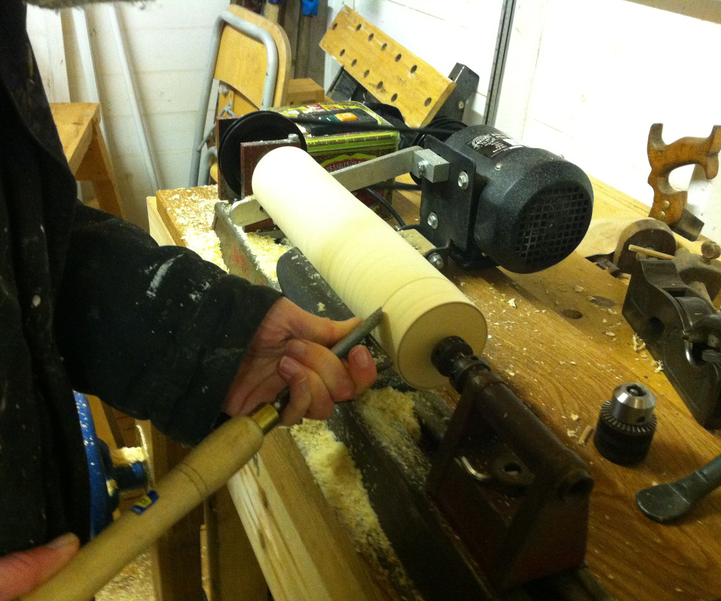 Modified Drill Powered Lathe