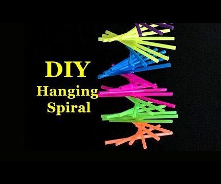 DIY Hanging Spiral Using Drinking Straws