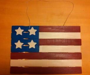 Make an American Flag out of paint sticks