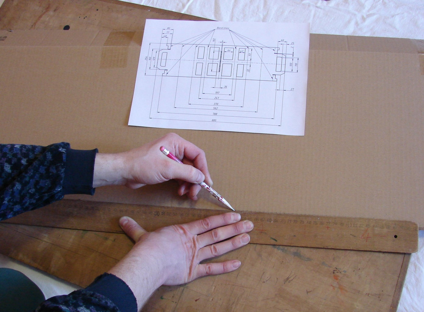 Transferring Drawing to a Cardboard