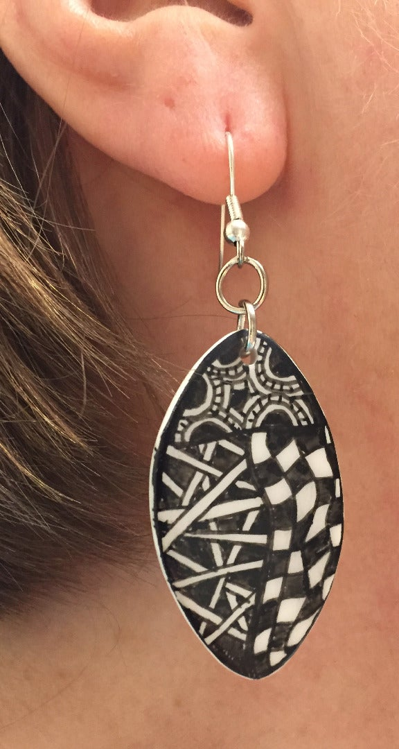 Zentangled Polymer Clay Earrings