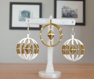 3d Printed Earrings and Pendant Set