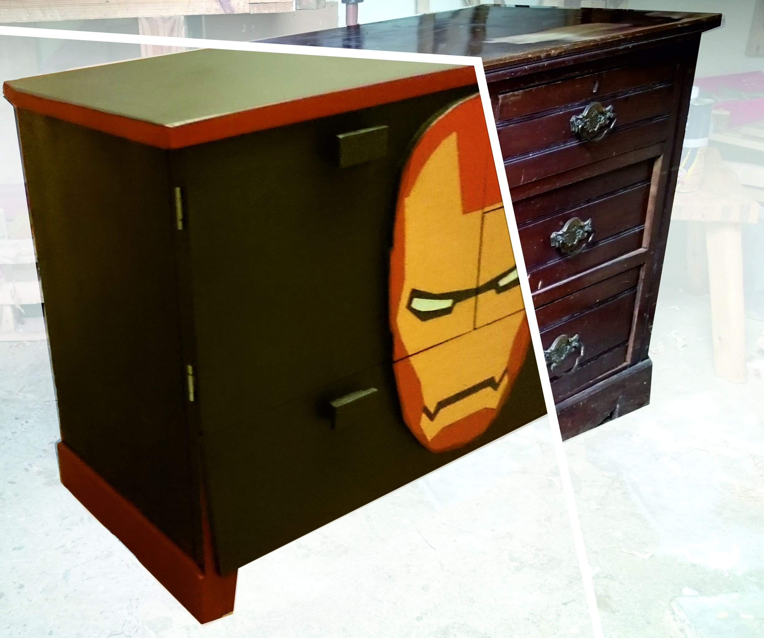 Iron Man Cabinet Upcycled From a Chest of Drawers