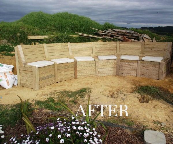 Garden Seating, Incorporating Retaining Wall