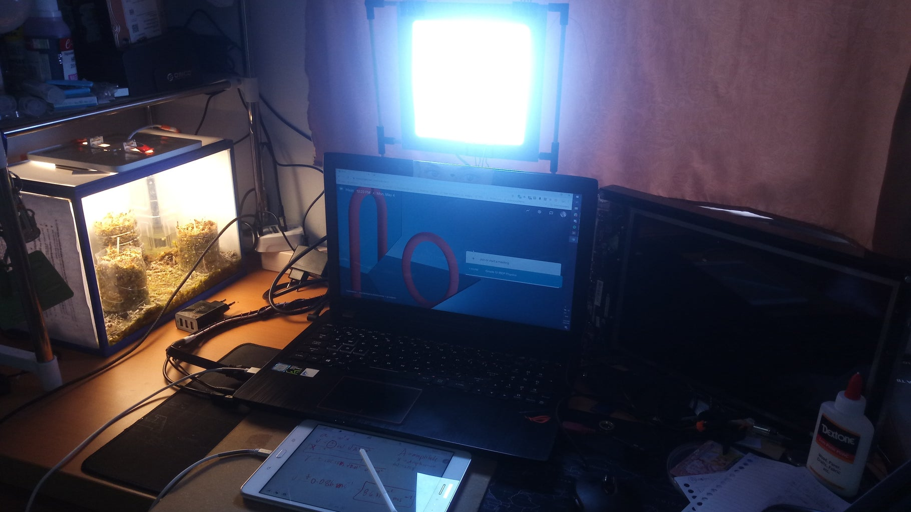 Virtual Classroom: Lights, Green Screen, and Virtual Board