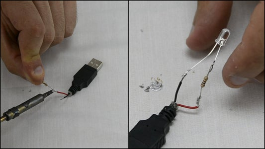 Solder the LED and Resistor to the USB Plug
