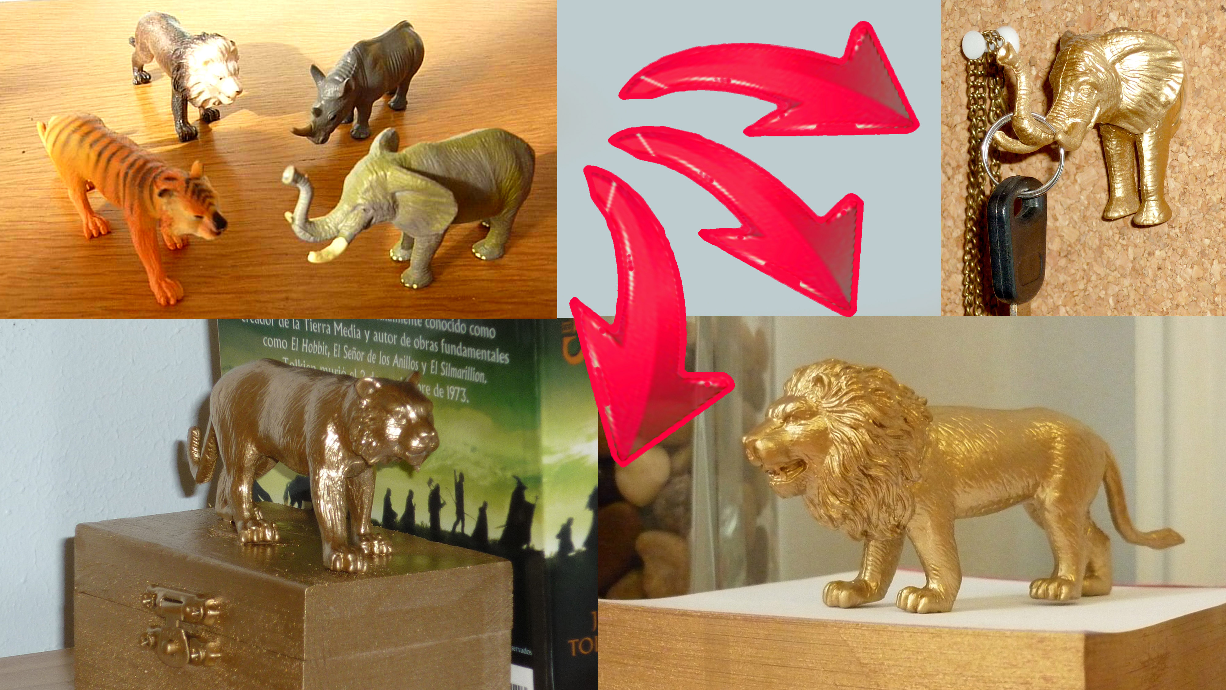 DIY room decor - 3 ideas to upcycle plastic animal toys with spray paint!