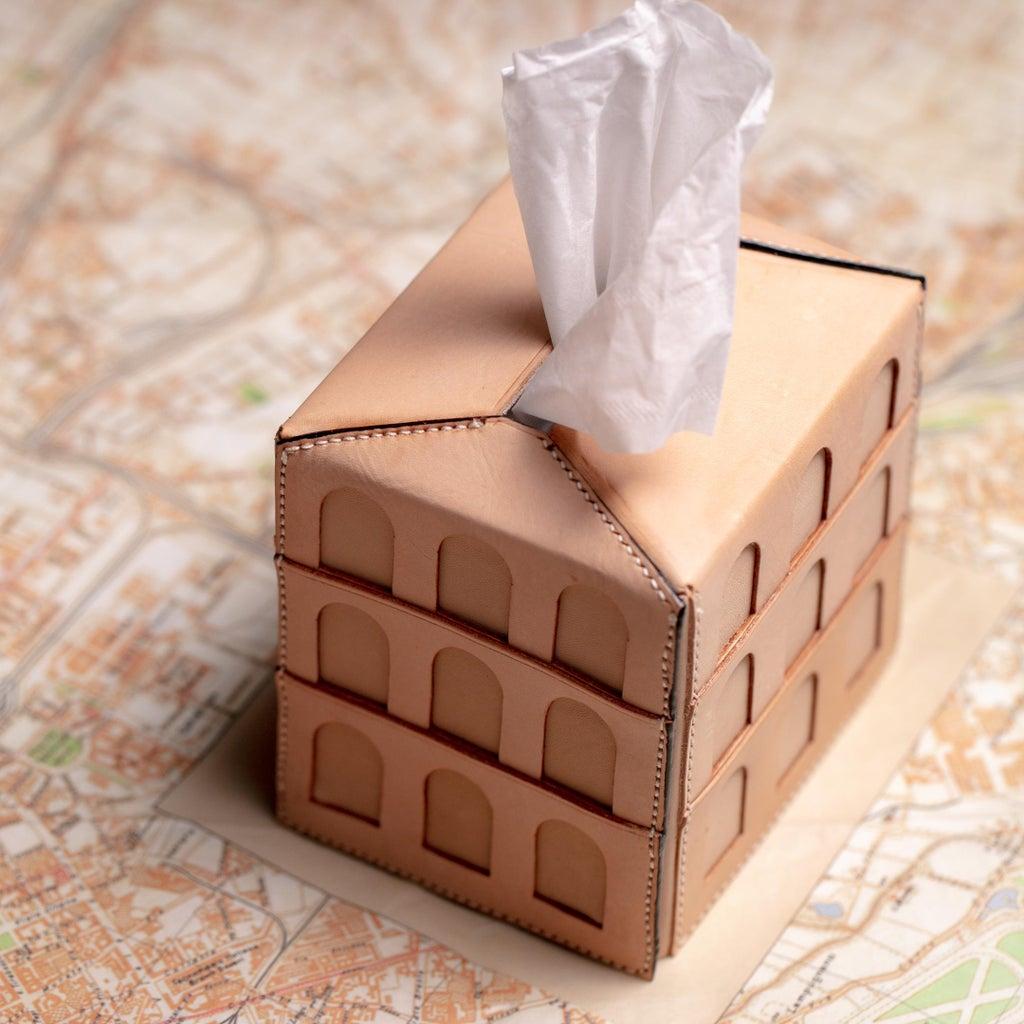 Architectural Leather Tissue Box
