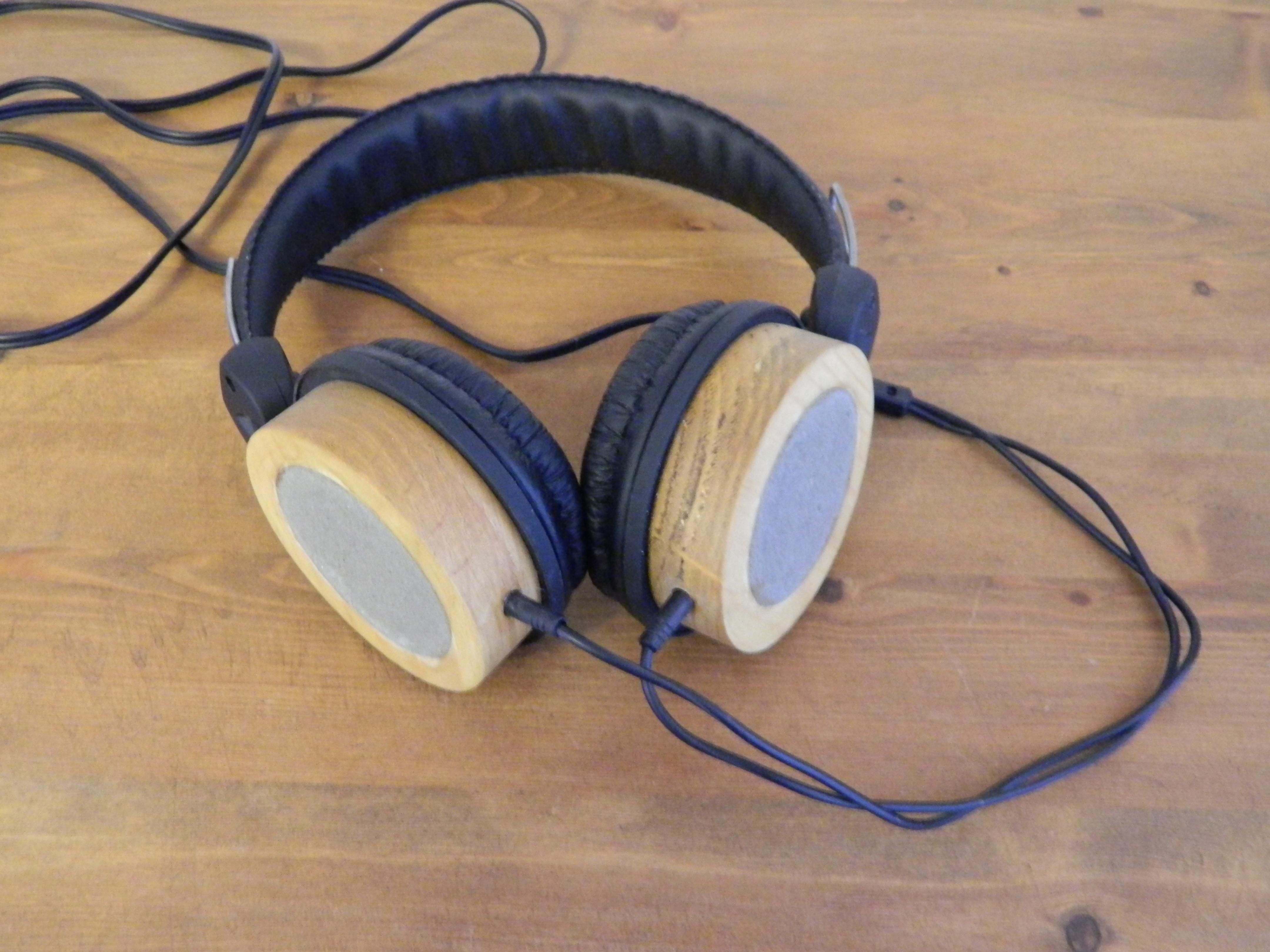 Wood and concrete headphones