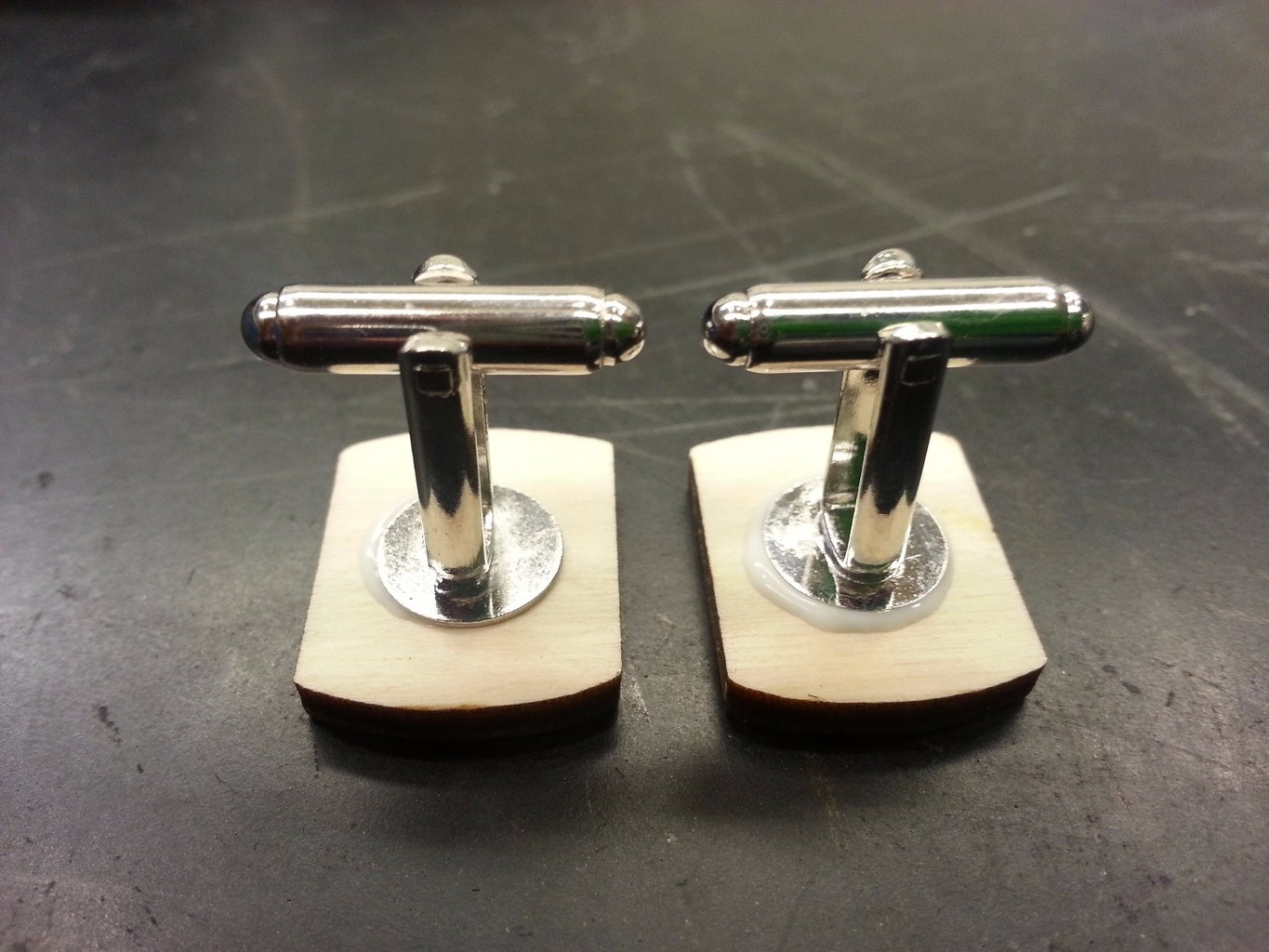 Gluing the Cufflink to Laser Pieces