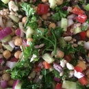 Summer Greek Farro Salad (vegan optional)