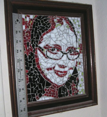 Make a stained glass mosaic portrait from a photograph.