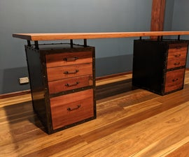 Industrial-style Metal and Timber Study Desk