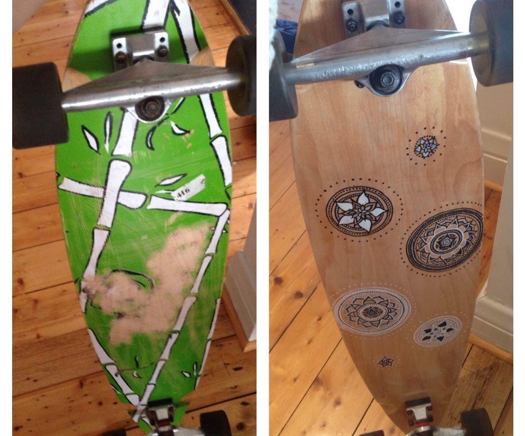 DIY longboard renovation (graphics and grip tape)