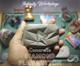 Concrete Youtube Diamond Play Button Paperweight (Templates Are Free)