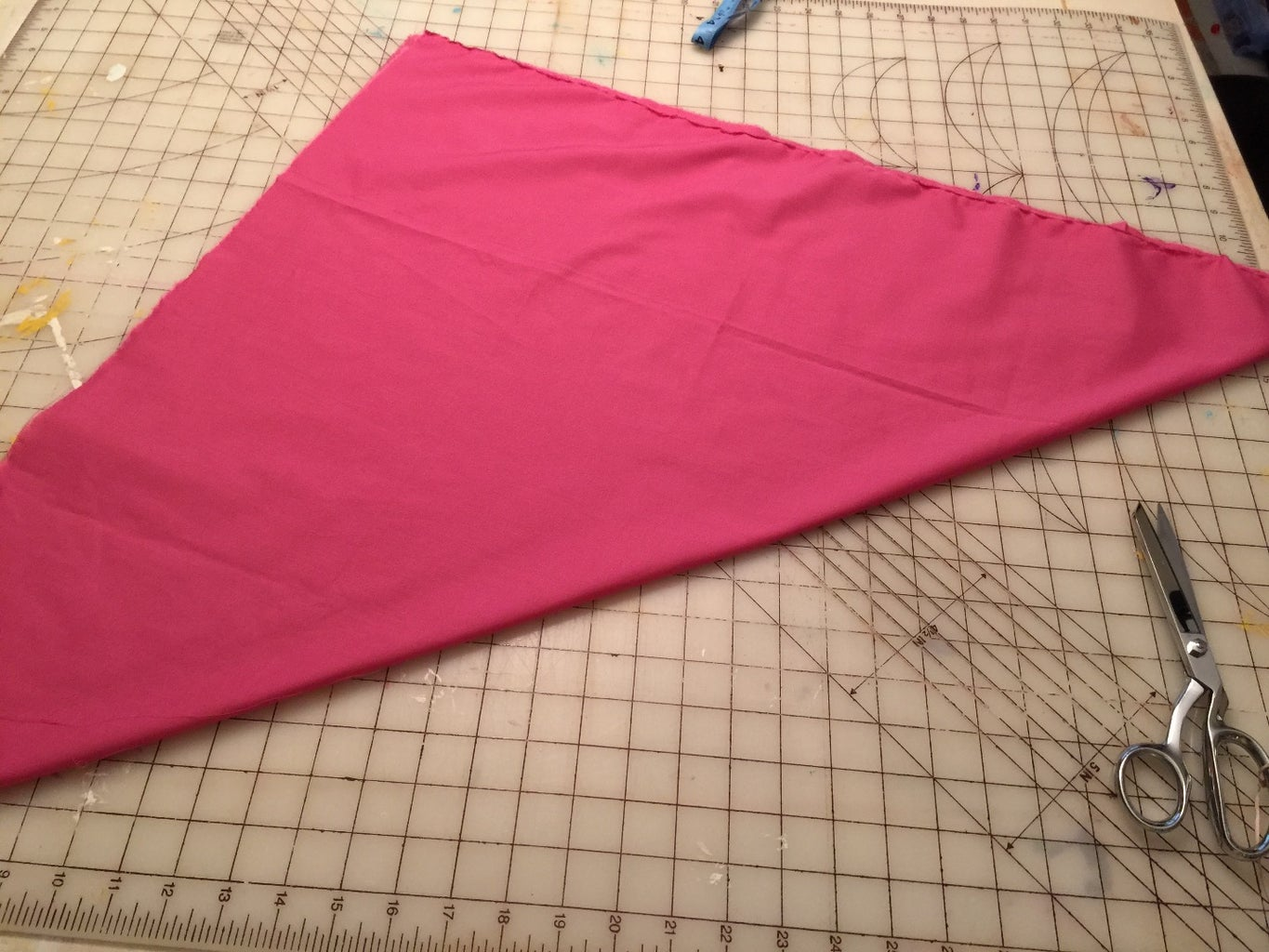 """With Right Sides Together Fold Into a Triangle. Stitch Using a 1/2"""" to 5/8"""" Seam (my Edges Did Not Quite Line Up So I Used a Wider Seam Allowance)."""