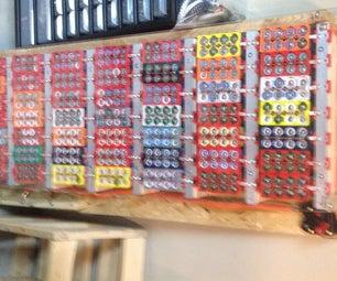 用回收的18650锂离子笔记本电池DIY 2.4千瓦时的电墙