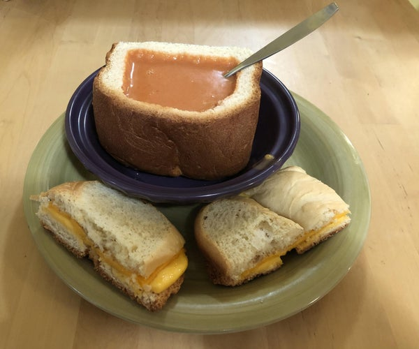 A Feast in One Pot: Tomato-Lentil Soup in Bread Bowls With Cheese Sandwiches and Bread Pudding